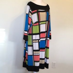 Soho Apparel Ltd. Retro Print Knit Shift Dress